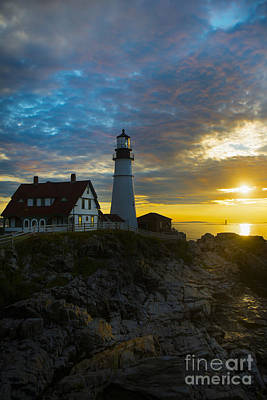 Maine Shore Photograph - Portland Head Light At Dawn by Diane Diederich