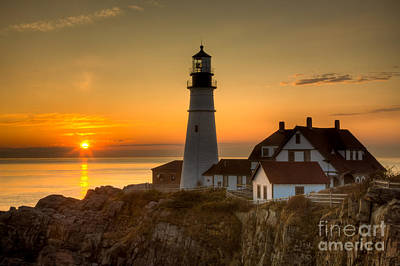 Portland Head Light At Sunrise II Print by Clarence Holmes