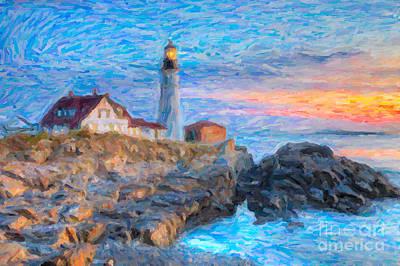 Impasto Oil Photograph - Portland Head Light At Sunrise Impasto I by Clarence Holmes