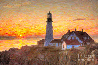 Impasto Oil Photograph - Portland Head Light At Sunrise Impasto II by Clarence Holmes