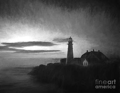Portland Head Light At Sunrised Print by Diane Diederich