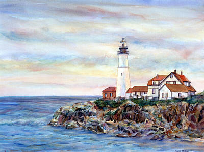 Portland Head Lighthouse Painting - Portland Head Light In Maine by Pamela Parsons