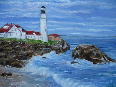 Portland Head Lighthouse Painting - Portland Head Light Maine by Laura Corebello