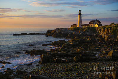 Famous Wave Photograph - Portland Head Lighthouse At Dawn by Diane Diederich