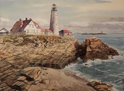 New England Lighthouse Painting - Portland Head Lighthouse  by Jon Hunter