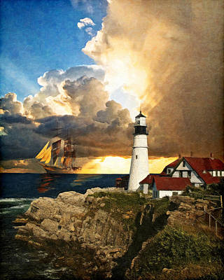 Rocky Digital Art - Portland Head Lighthouse by Lianne Schneider