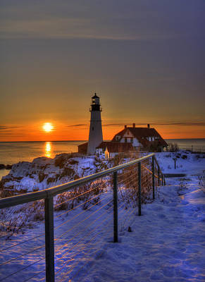 Winter In New England Photograph - Portland Head Lighthouse Sunrise - Maine by Joann Vitali