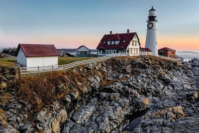 Christmas Photograph - Portland Lighthouse Dawn by Susan Candelario