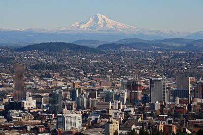 Elizabeth Rose Photograph - Portland Oregon And Mt. Hood by Elizabeth Rose