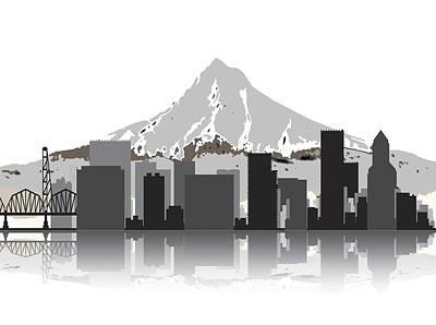 Adidas Digital Art - Portland Oregon Skyline 2 by Daniel Hagerman