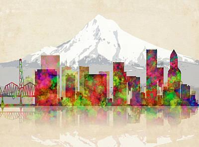 Adidas Digital Art - Portland Oregon Skyline by Daniel Hagerman
