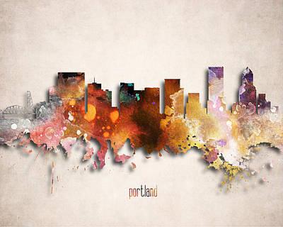 Tourism Digital Art - Portland Painted City Skyline by World Art Prints And Designs