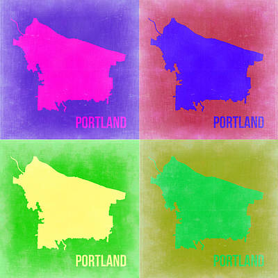 Portland Digital Art - Portland Pop Art Map 2 by Naxart Studio
