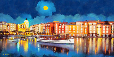 Portofino Beach Painting - Portofino By Night by George Rossidis