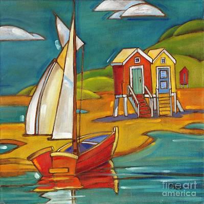 Harbor Painting - Portofino Cabanas by Paul Brent
