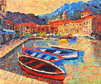 Portofino - Colorful Boats And Reflections In Dawn Light - Italy Liguria Riviera Print by Ana Maria Edulescu