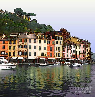 Portofino Harbor Print by Linda  Parker