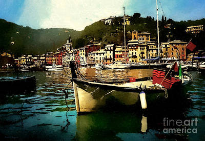 Portofino Harbour Print by Barbara D Richards