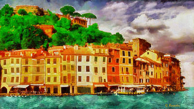 Portofino Beach Painting - Portofino I by George Rossidis