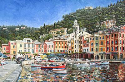 Portofino Italy Painting - Portofino Italy by Mike Rabe