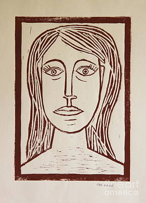 Lino-cut Painting - Portrait A La Picasso - Block Print by Christiane Schulze Art And Photography