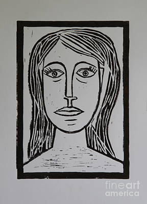 Lino-cut Mixed Media - Portrait A La Picasso by Christiane Schulze Art And Photography