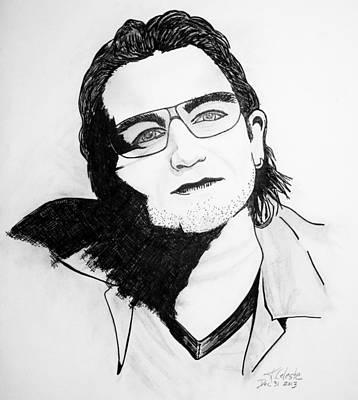 U2 Drawing - Portrait Bono U2 by Karin Celeste