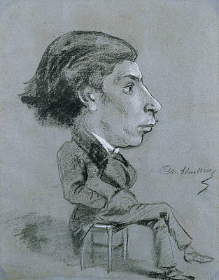 Portrait-charge, C. 1858 Black And White Chalk Print by Charles Marie Lhuillier