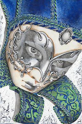 Mardi Drawing - Portrait In Blue Venetian Mask - Venice - Acryl - Elena Yakubovich by Elena Yakubovich