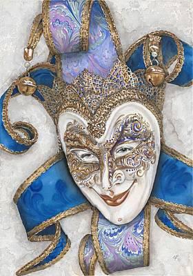 Mardi Drawing - Portrait In Jester Mask - Venice - Acryl - Elena Yakubovich by Elena Yakubovich