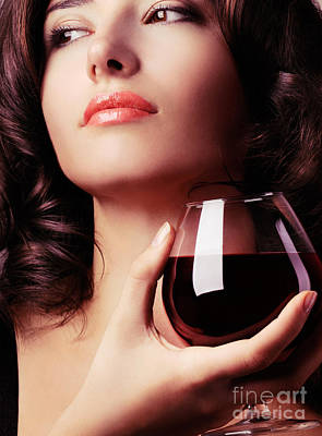 Portrait Of A Beautiful Woman With Glass Of Wine Print by Oleksiy Maksymenko