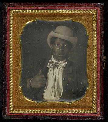 Black Tie Drawing - Portrait Of A Black Man Wearing A Bow Tie Unknown Maker by Litz Collection