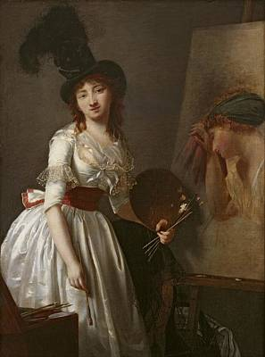 Portrait Of A Female Painter, Pupil Of David Oil On Canvas Print by Aimee Duvivier