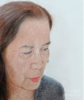 Filipina Drawing - Portrait Of A Filipina In Thought  by Jim Fitzpatrick