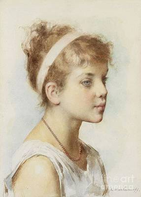 Russian Painting - Portrait Of A Girl by Celestial Images