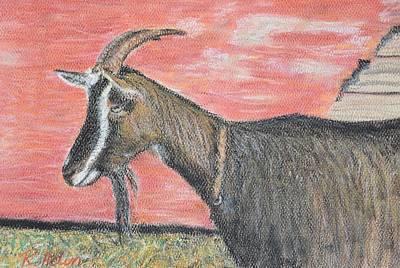 Portrait Of A Goat Print by Renee Helin