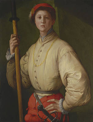 Portrait Of A Halberdier Possibly Francesco Guardi C.1528-30 Oil On Panel Print by Jacopo Pontormo