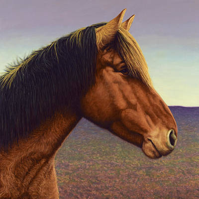 Domestic Animals Painting - Portrait Of A Horse by James W Johnson