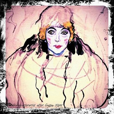 Portrait Of A Lady En Face After Gustav Klimt Original by Anna Porter