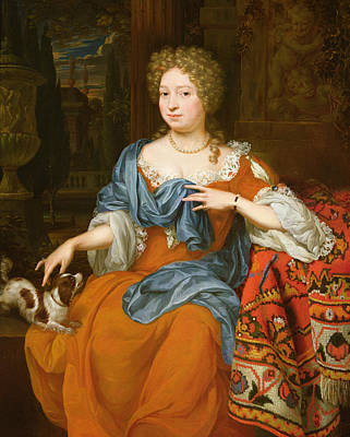 Portrait Of A Lady In A Red Dress, 1691 Print by Thomas van der Wilt
