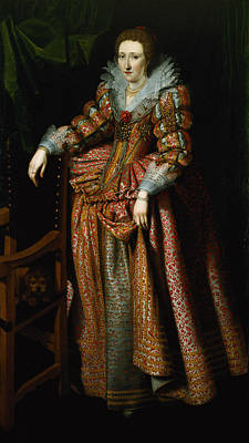 Portrait Of A Lady Said To Be From The Coudenhouve Family Of Flanders, C.1610-20 Oil On Canvas Pair Print by Hispano-Flemish School
