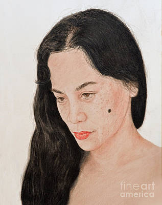 Facial Drawing - Portrait Of A Long Haired Filipina Beautfy With A Mole On Her Cheek by Jim Fitzpatrick