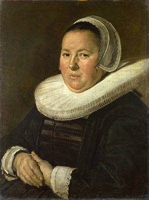 With Hands Painting - Portrait Of A Middle-aged Woman With Hands Folded by Frans Hals