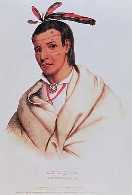 Portrait Of A-mis-quam, A Winnebago Brave Coloured Engraving Print by American School