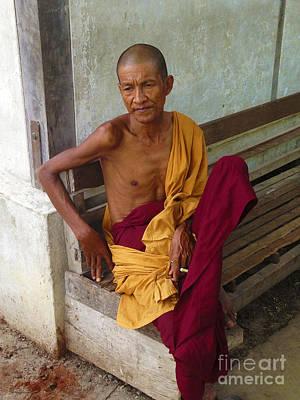 Portrait Of A Monk From Monastery For Orphans Near Shwenandaw Kyaung Mandalay Burma Print by Ralph A  Ledergerber-Photography