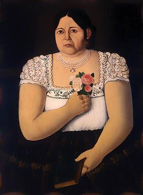 Heavy Woman Painting - Portrait Of A Native Puebla Native With A Bouquet Of Roses by Mountain Dreams