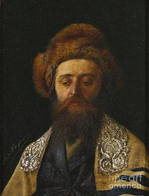 Eastern Painting - Portrait Of A Rabbi With Tallit by Celestial Images