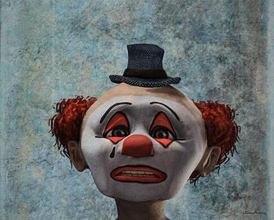 Portrait Of A Sad Clown Print by Ramon Martinez