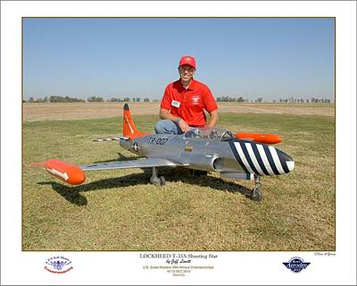 Portrait Of A Shooting Star - Jeff Lovitt And His Lockheed T-33 Print by Ken Young