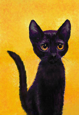 Pet Portrait Digital Art - portrait of a small black cat named  LuLu by Jane Schnetlage